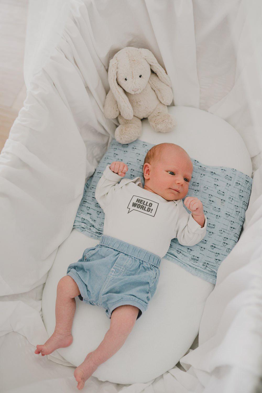Baby liegt in wiege mit Stoffhase